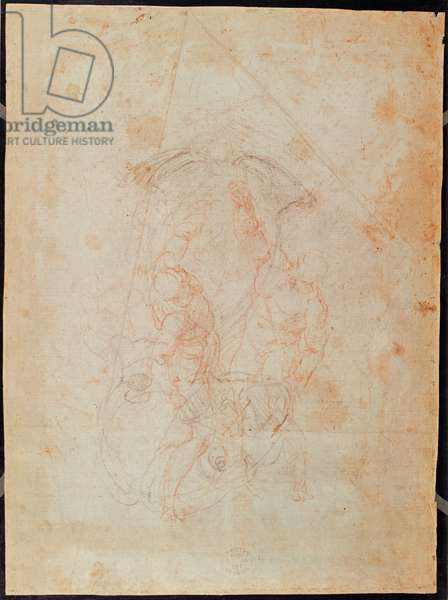 Study of two male figures (red chalk on paper) (verso)