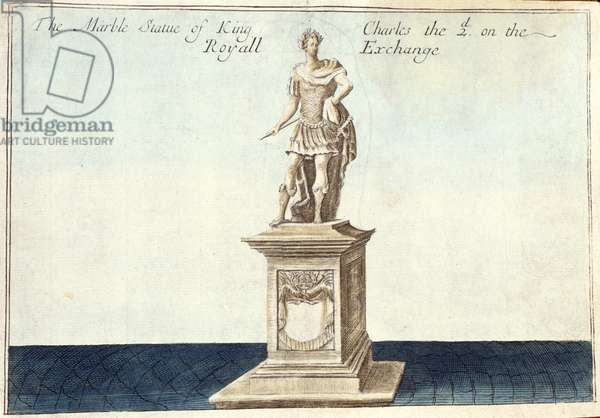 Marble Statue of King Charles II (1630-85) on the Royal Exchange, from 'A Book of the Prospects of the Remarkable Places in and about the City of London', c.1700 (engraving)