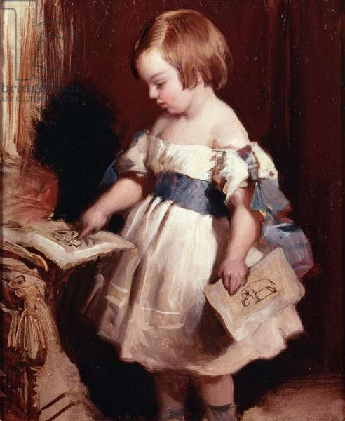 Child with a drawing (oil on canvas)