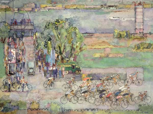 Bicycle Race, 1980 (mixed media on paper)