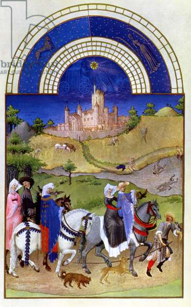 Facsimile of August: Hawking, from the 'Tres Riches Heures du Duc de Berry (vellum) (for original see 8440)