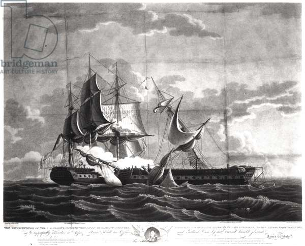 Representation of the US frigate, 'Constitution', Isaac Hull (1773-1843) Esq. Commander, Capturing His Britannic Majesty's Frigate, 'Guerriere', James R. Dacres, Esq. Commander, August 19th 1812, engraved by Cornelius Tiebout (c.1773-1832) (engraving) (b&w photo)