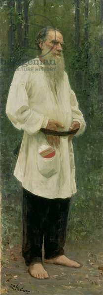 Portrait of Lev Tolstoy (1828-1910) 1901 (oil on canvas)
