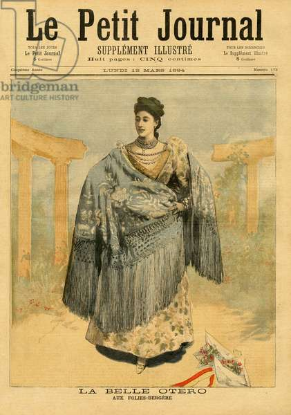 La Belle Otero (1868-1965) at the Folies-Bergere, from 'Le Petit Journal', 12th March 1894 (coloured engraving)