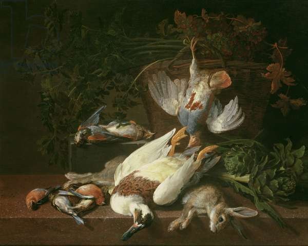 Still of Game and Vegetables (oil on canvas) (for pair see 93440)