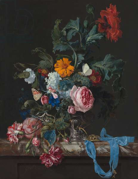 Flower Still Life with a Timepiece, 1663 (oil on canvas)