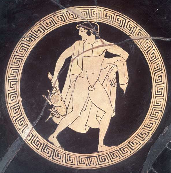 A hunter with a hare, detail from a red figured kylix, Greek, 5th century BC (ceramic)