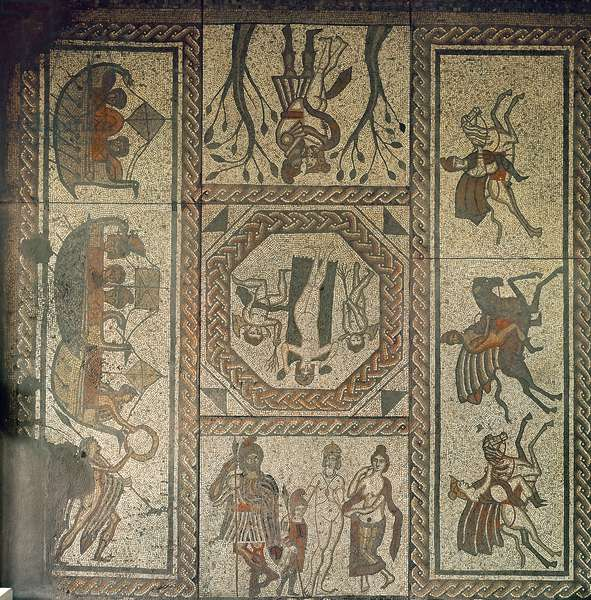 Mosaic pavement from the Roman villa at Low Ham, illustrating the story of Dido and Aeneas from Virgil's Aeneid, c.350 AD (mosaic)