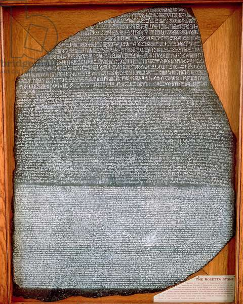 The Rosetta Stone, from Fort St. Julien, El-Rashid (Rosetta) 196 BC (see also 138897)