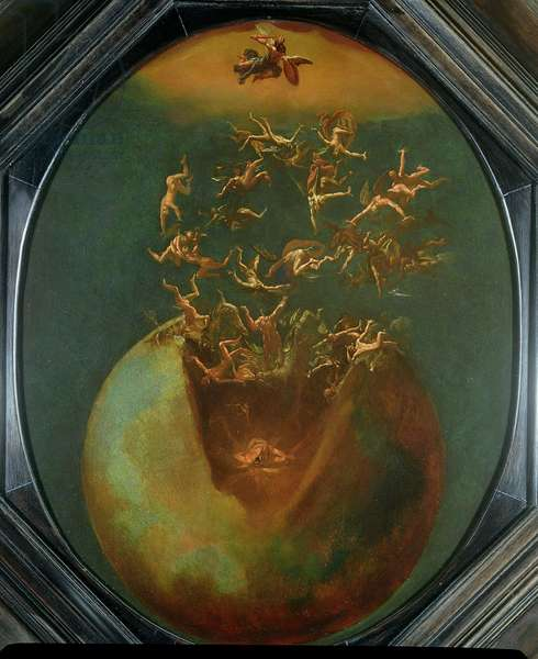 Fall of Satan and the Rebel Angels from Heaven (oil on silvered copper)