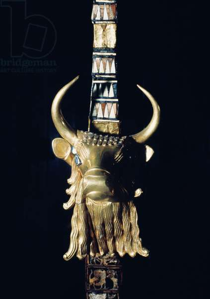 Head of a bull, decoration from a harp, 2800-2300 BC (gilded wood) (see 198659)