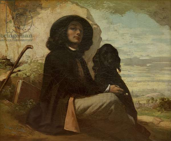 Courbet with his Black Dog, 1842 (oil on canvas)