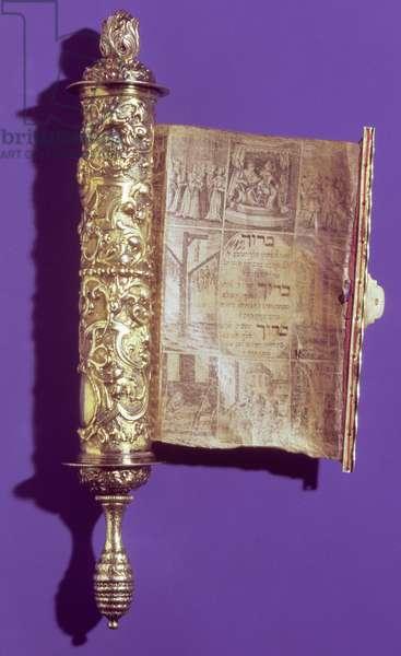 Megillah (Scroll of Esther) in a silver case, Vienna, c.1715