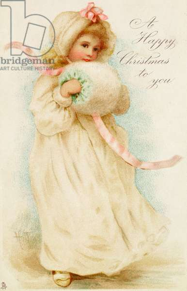 Christmas card depicting a girl with a muff (colour litho)