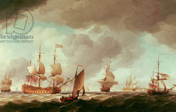 An English Vice-Admiral of the Red and his Squadron at Sea, c.1750-59 (oil on canvas)