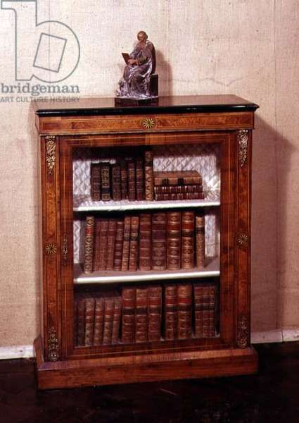 Victorian bookcase with carved statue of St.Luke, mid 19th century