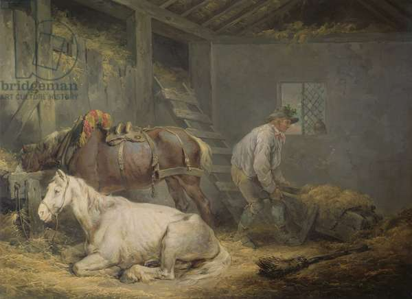 Horses in a Stable, 1791 (oil on canvas)