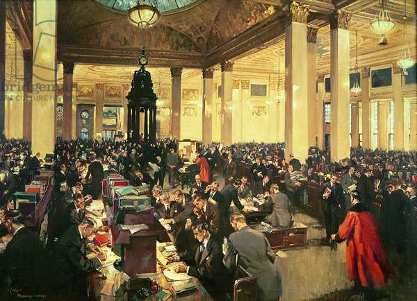 The Underwriting Room at Lloyd's of London, November 1948, 1949 (oil on canvas)