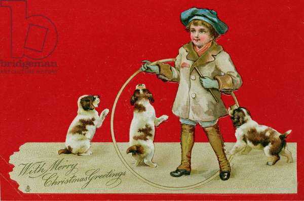 Boy with a Hoop, Victorian card
