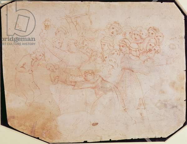 Study for the Massacre of the Innocents (brown ink on paper) (recto) (for verso see 191770)
