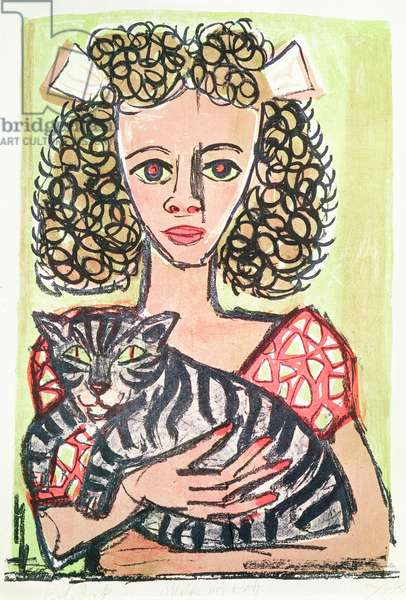 Young Girl with a Cat, 1956 (colour litho)