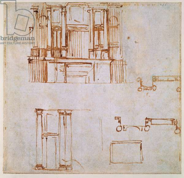 Studies for a monumental wall tomb (for the tombs of Clement VII and Leo X projected for the choir of San Lorenzo, Florence?) 1525-26 (pen & brown in on paper) (recto) (for verso see 191780)
