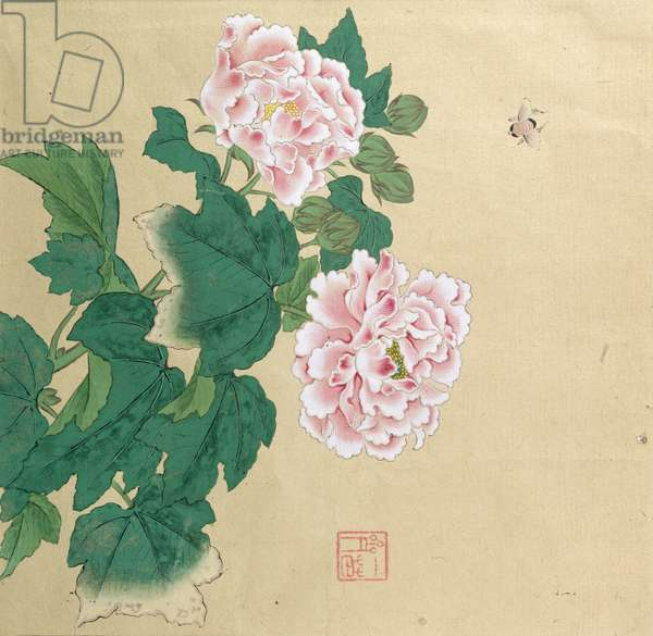 Bee and peony by Ichimiosai (fl.19th century), (ink on paper)