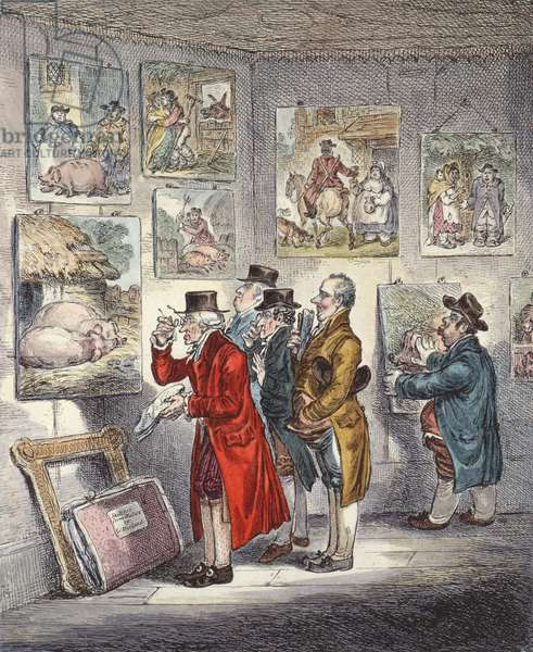 Connoisseurs Examining a Collection of George Morland's Paintings