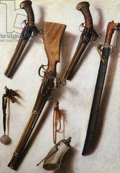 Trompe L'Oeil with Rifles, Sword and Gunpowder Horn
