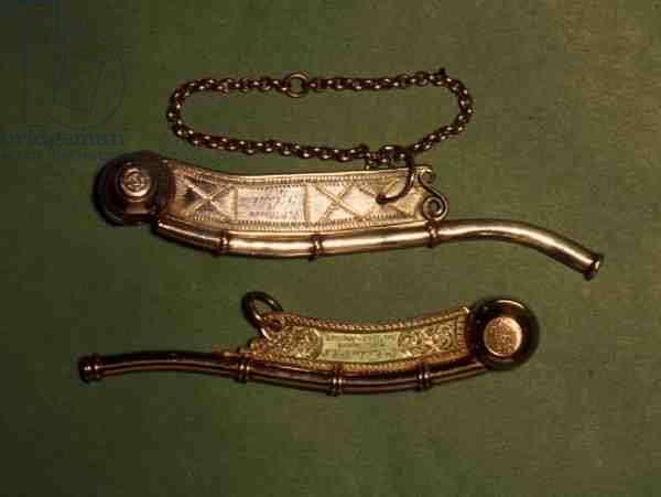 Boatswain's Calls: top, gilt metal, c.1885; bottom, silver, by Hester Bateman, London, 1788-89 (gilt metal & silver)