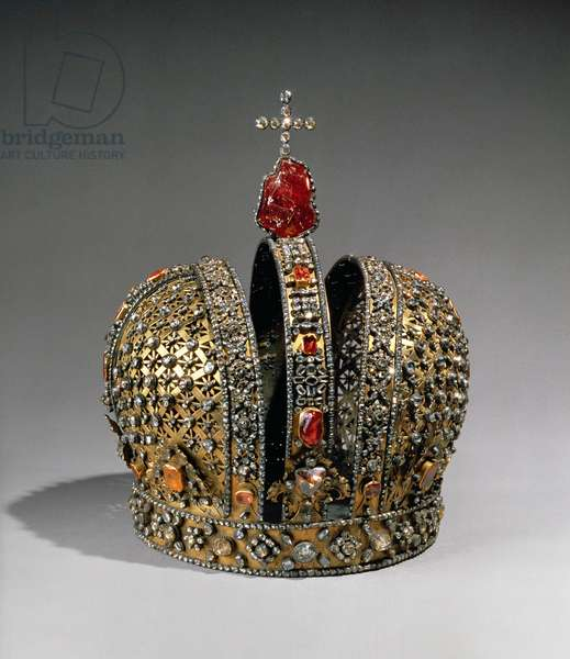 Crown of the Empress Anna Ioannovna, St. Petersburg, 1730 (silver, gold & precious stones)