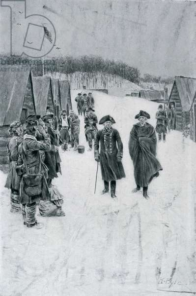 Washington and Steuben at Valley Forge, illustration from 'General Washington' by Woodrow Wilson, pub. in Harper's Magazine, July 1896 (litho)
