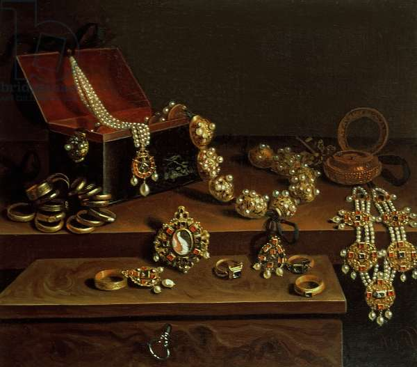 Casket of jewels on a table, principally of German Origin (1600-50)
