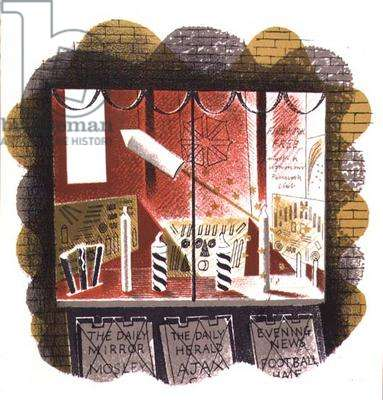 """The Newsagent, printed by the Curwen Press, from """"High Street"""", by J.M. Richards, published by Country Life, 1938 (set of 24) (colour lithograph)"""