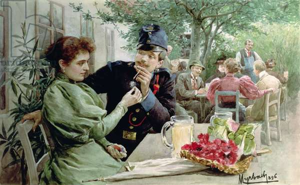 Soldier and a Young Girl Drinking New Wine, 1896 (w/c on paper)