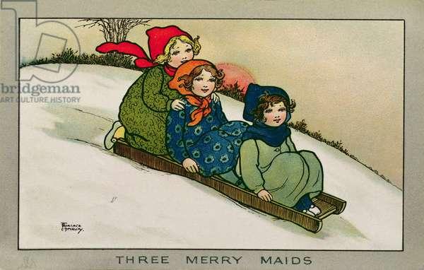 Three Merry Maids, Victorian card