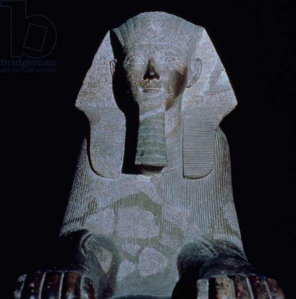 A Sphinx of Queen Hatshepsut, from the Mortuary Temple of Hatshepsut, New Kingdom (granite)