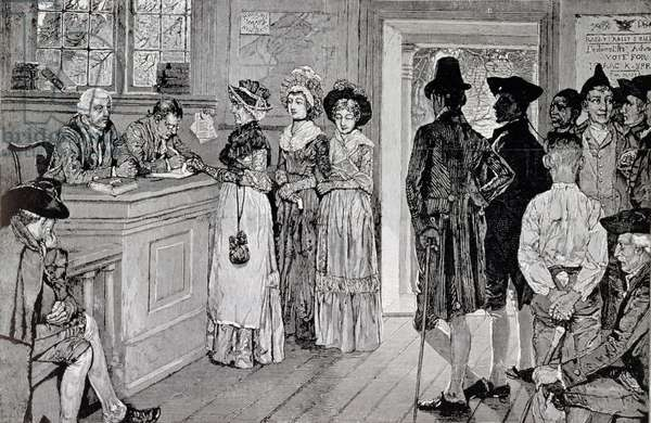 Women at the Polls in New Jersey, illustration from 'Women at the Polls in New Jersey in the Good Old Times', pub. in in 'Harper's Weekly', 1880 (litho)