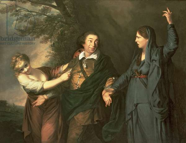 David Garrick (1717-79) between the Muses of Tragedy and Comedy, 1760-61 (oil on canvas)