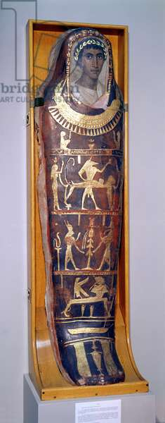 Painted and gilded mummy case of Artemidorus with encaustic portrait in the Hellenistic style, from Hawara (painted & gilded stucco) (see also 46817 and 26166)