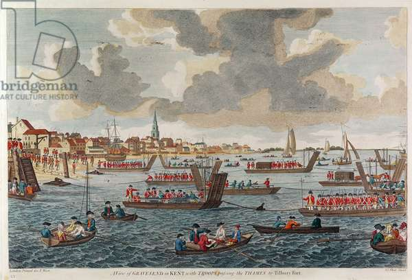 View of Gravesend with troops crossing the Thames to Tilbury Fort (engraving)