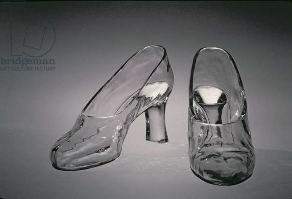 Pair of glass slippers, designed by Frederick Carder, Steuben Glass, 1920's