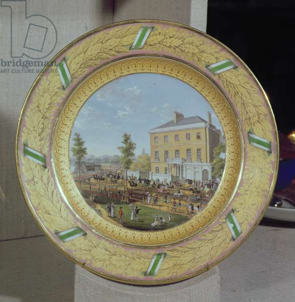 Meissen plate, decorated with a scene of Apsley House, c.1818 (porcelain)