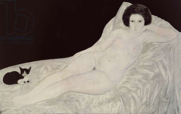 Nude Stretching Out with a Cat, 1921 (oil on canvas)