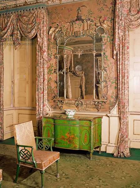 Commode and chair in the state bedchamber at Nostell Priory, Yorkshire (green and gold lacquer)
