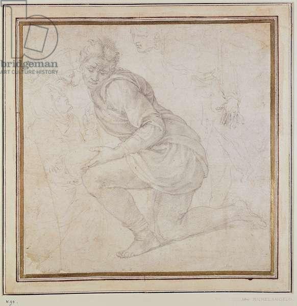 Inv. 5211-75 Fawkener Recto (W.92) Kneeling man (drawing)