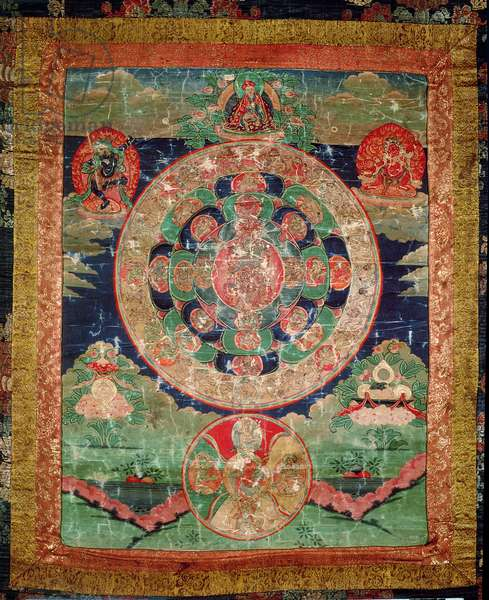 Bardo Mandala, Thangka showing the period between death and reincarnation (gouache on cloth)