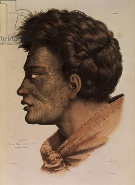 Natai, a Maori chief from Bream Bay, New Zealand, plate 63 from 'Voyage of the Astrolabe', engraved by Victor Adam, 1833 (litho)