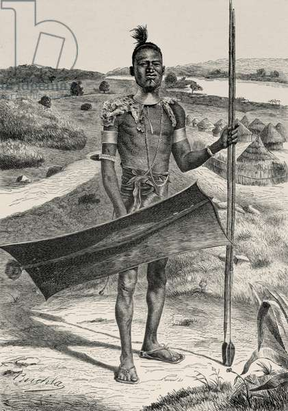 Shuli Warrior Fully Equipped: Village in Background, from 'The History of Mankind' by Prof. Friedrich Ratzel, pub. in 1904 (engraving)