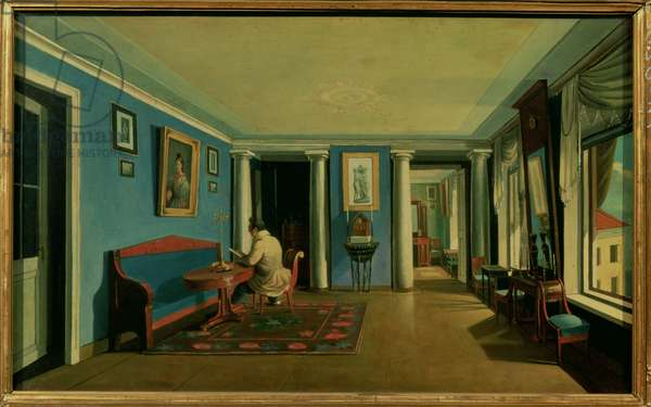 Indoors. Drawing Room with Columned Entresol (oil on canvas)